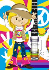Cartoon Hippie Girl with Guitar