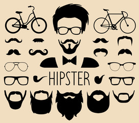 Big vector set of dress up constructor with different men hipster haircuts etc in flat style. Male faces icon creator.