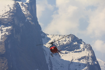 Poster Helicopter Red helicopter and Himalaya Annapurna mountain, Nepal