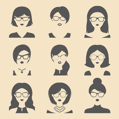Vector set of different women app icons in glasses in flat style. Female faces or heads.