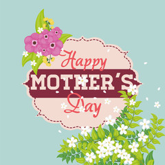 happy mothers day flowers decorative card vector illustration eps 10