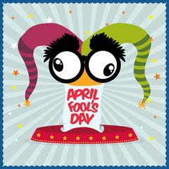 april fools day hat joker star striped background vector illustration eps 10