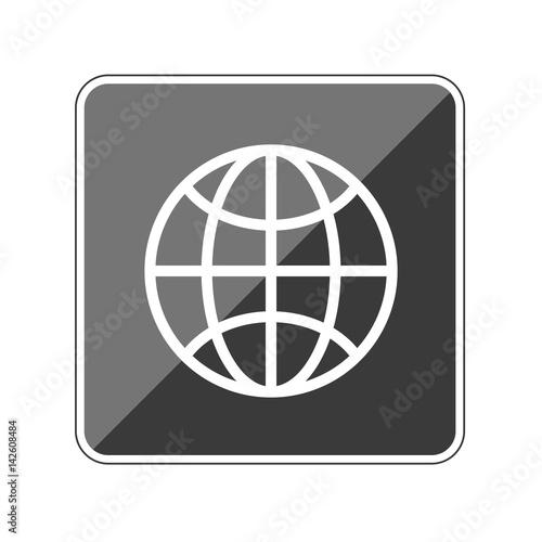 App Button schwarz reflektierend - Globus Drahtmodell\