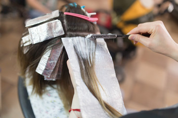 Hair coloring girl in the beauty salon