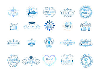 Typographic badges - Dental clinic. On the basis of script fonts, handmade. It can be used to design your printed products