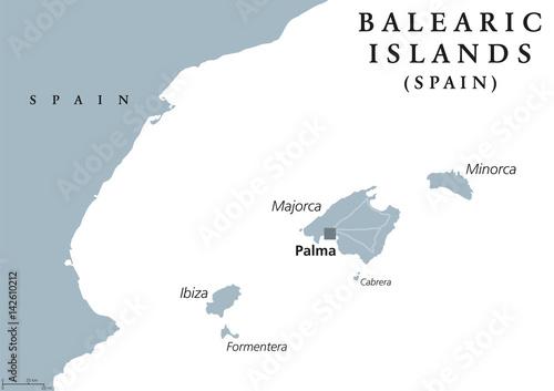 Balearic Islands political map with capital Palma Majorca Minorca