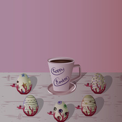 Easter eggs on the wooden table. Vector. Holiday background.