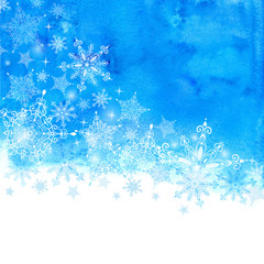 Winter background with snowflakes and blue hand drawn watercolor