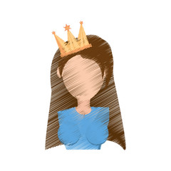 drawing head girl with crown celebration party vector illustration eps 10