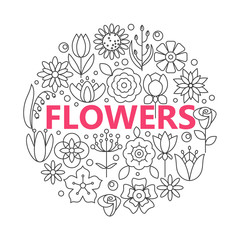 Flower icons with outline style vector design elements.
