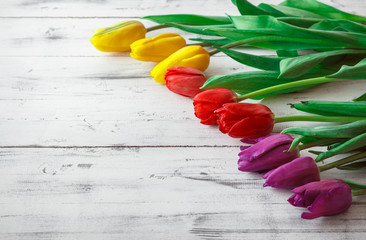 Tulips of different color on wooden background