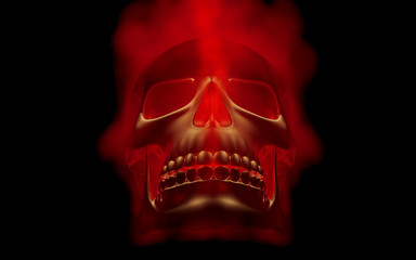 Skull looks up in colorful fire. Demonic sight. Scaring halloween picture