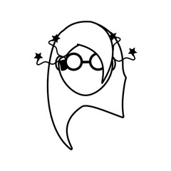 face girl funny glasses outline vector illustration eps 10