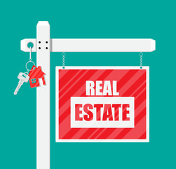 Wooden placard. Real estate sign
