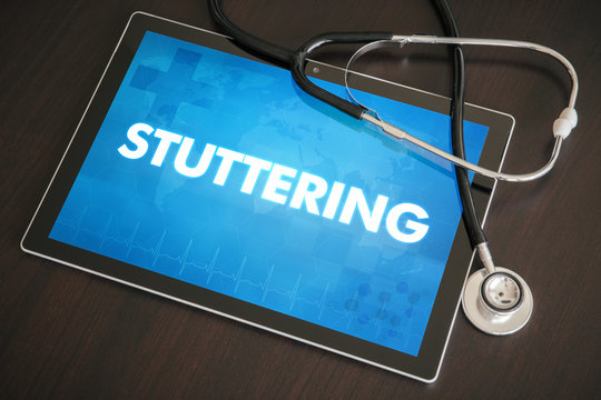 Stuttering (communication disorder) diagnosis medical concept on tablet screen with stethoscope
