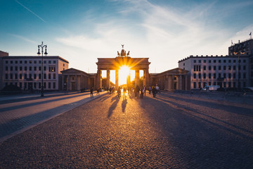 Aluminium Prints Berlin Brandenburg Gate in sunset light