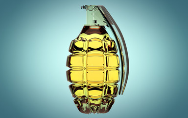 Hand grenade made of glass on beautiful blue background