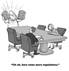 Business cartoon showing Moses handing down more regulations.