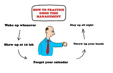 Business illustration about a man who does not pay attention to good time management.
