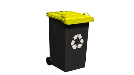 Black Recycle bin with recycle sign isolated on white