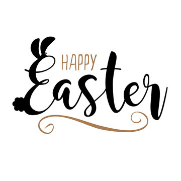 Happy Easter in hand drawn type with bunny ears and fluffy tail. EPS 10 vector.