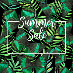 Colorful hand drawn seamless pattern with watercolor palm leaves and butterflies. Summer sale. Web banner or poster for e-commerce, on-line cosmetics shop, fashion & beauty shop, store.