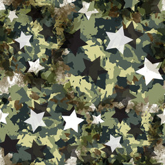 Urban geometric seamless pattern. Camouflage background. Camo textile print with stars. Colorful fabric swatch. Watercolor wallpaper.