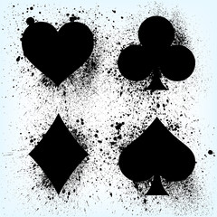 Signs and symbols of a deck of cards for poker and casino. Black spray on a light background. Realistic vector illustration.