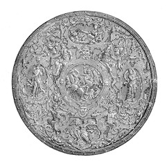 Renaissance Italian round shield, embossed and chiseled iron with mythological decorations, Italian artwork XVI century