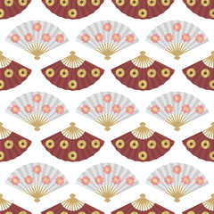 Japanese decorative fans seamless pattern. Floral ornament.