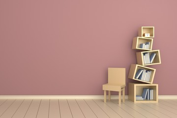 Bookshelves with books and clock on the glossy wooden floor.3D rendering.Pink wall blackground.