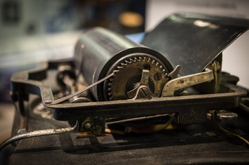 The mechanism of a old and vinage typewriter