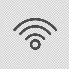Wireless vector icon eps 10. Wi-fi symbol on transparent background.