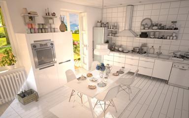 White Kitchen with Half Wireframe