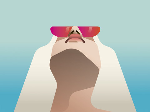 Illustration of woman wearing pink sunglasses