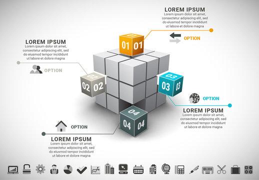 3D Block Cube Infographic