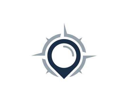 Compass Point Icon Logo Design Element