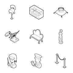 Historical museum icons set, outline style