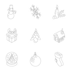 New year icons set, outline style