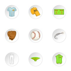 Baseball icons set, cartoon style