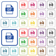 GIF file format outlined flat color icons