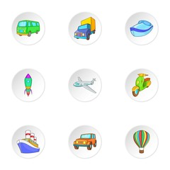 Carriage services icons set, cartoon style