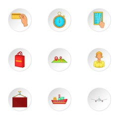 Shipping icons set, cartoon style