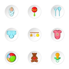Things for baby icons set, cartoon style