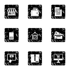 Products icons set, grunge style