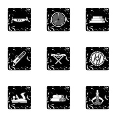 Cutting down trees icons set, grunge style