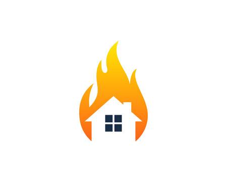 Fire House Icon Logo Design Element