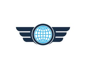 Globe Wing Icon Logo Design Element