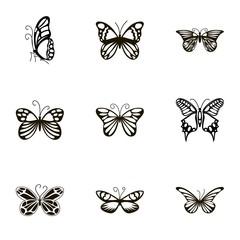 Beautiful butterflies icons set, cartoon style