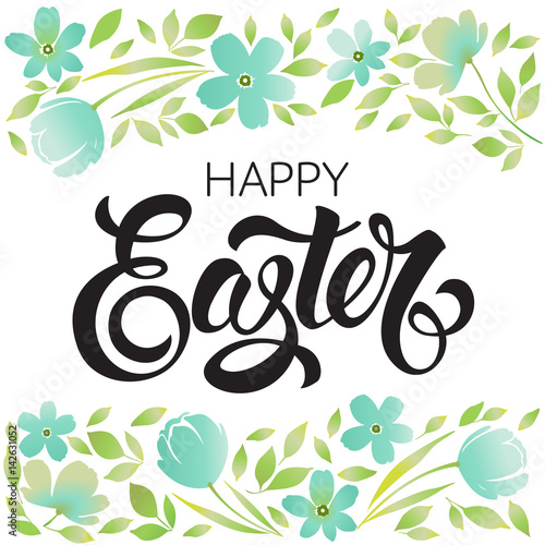 Quot happy easter typography background with wreath and